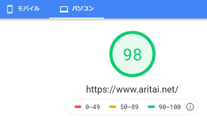 パソコンページの読み込み速度